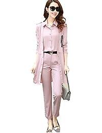 BCSY レディーススーツ コート+トップス+パンツの 3点セット 柔らかい 快適 洗える ストレッチ 着心地よい オフィス 就活 仕事 入学式 卒業式 入園式 OL ピンク ブルー 大きいサイズ