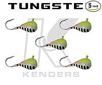 (5パック) タングステンジグ–Chartreuseパールストライプグロー