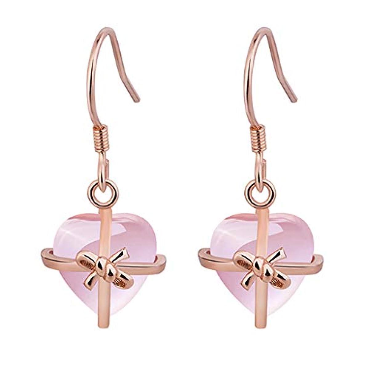 意識的カフェテリア血統Nicircle 女性ナチュラルハートピンクローズ925スタンダードシルバージュエリーイヤリング ピンクのバラ Women Natural Heart Pink Rose 925 Standard Silver Jewelry...