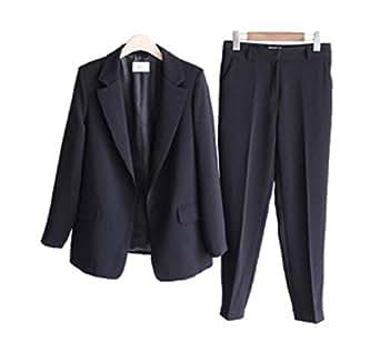 nijuh スーツ レディーススーツ パンツスーツ テーラードジャケット アンクル丈 パンツ OL オフィス 入卒園 レディース (XL, ブラック)