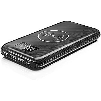 モバイルバッテリー Qi 大容量 24000mAh ワイヤレス充電器 急速充電 携帯充電器 3USB出力ポート ワイヤレス充電と有線充電 4台同時充電 LCD残量表示 Micro/Lightning 2つの入力ポート (黒)