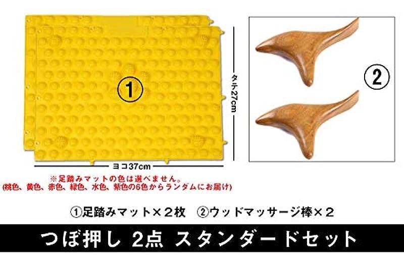 暴露する日食壁紙つぼ押し 2点 スタンダードセット (足つぼ 足裏 肩 首 マッサージ マット) (ウッドマッサージ×2 マット×2枚)