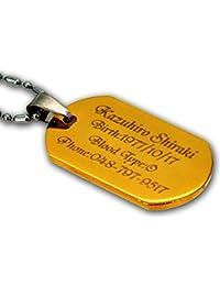 ステンレス ドッグタグ (ネックレス?ペンダント)(Stainless Dog Tag )ゴールドタイプのIDプレート オリジナル刻印 名入れ