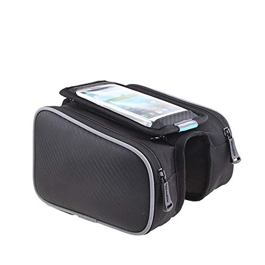ずるい過激派辞任自転車バイクリアシートトランクバッグ 防水携帯電話のバッグが付いているバイクフレームバッグ自転車トップチューブバッグツールアクセサリー サイクリングアクセサリー (Color : Black, Size : L)