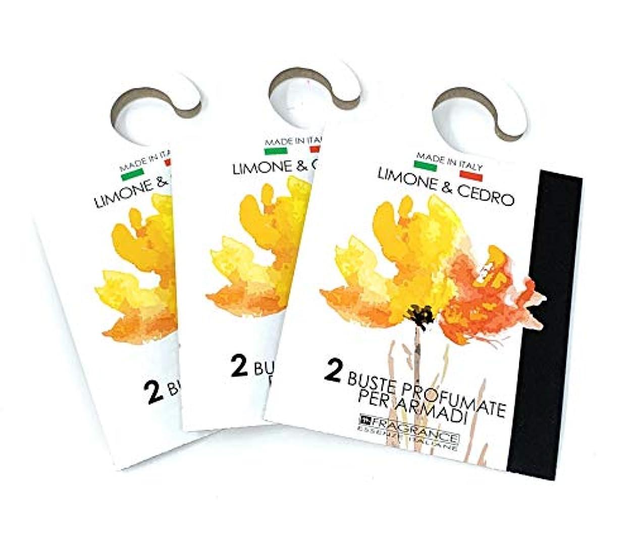 透過性普通に頼むMERCURY ITALY 吊り下げるサシェ(香り袋) ACQUARELLO レモン&シトロンの香り/LIMONE & CEDRO 2枚入り×3パック [並行輸入品]