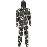 NOROZE Kids Onesie Boys Sleepsuits Fleece Hooded All in One Camo Aztec Men's Pyjamas Dad Son Matching Jumpsuit (9-10 Years, Camo Green)