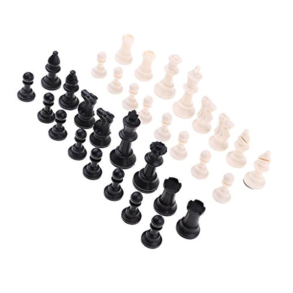 P Prettyia プラスチック 国際チェスゲーム チェスマン チェスピース テーブルゲーム 道具 約32個入り 全4サイズ - 65ミリメートル