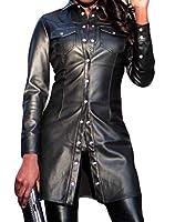 FRPE 女性の長袖ポケットスリムフィットシングルは、フォークスレザージャケット Black US S