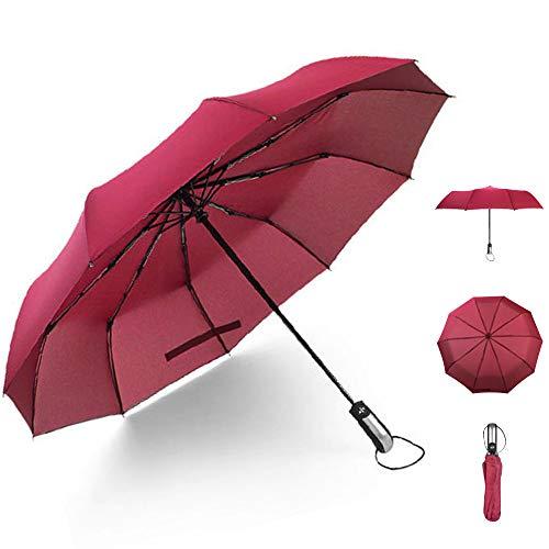 lcfun おりたたみ傘 メンズ 折り畳み傘 自動開閉 折りたたみ傘 レディース 折りたたみ傘 ワンタッチ自動開閉 超撥水 耐風傘 折り畳み 10本骨 収納ポーチ付 晴雨兼用 ワインレッド