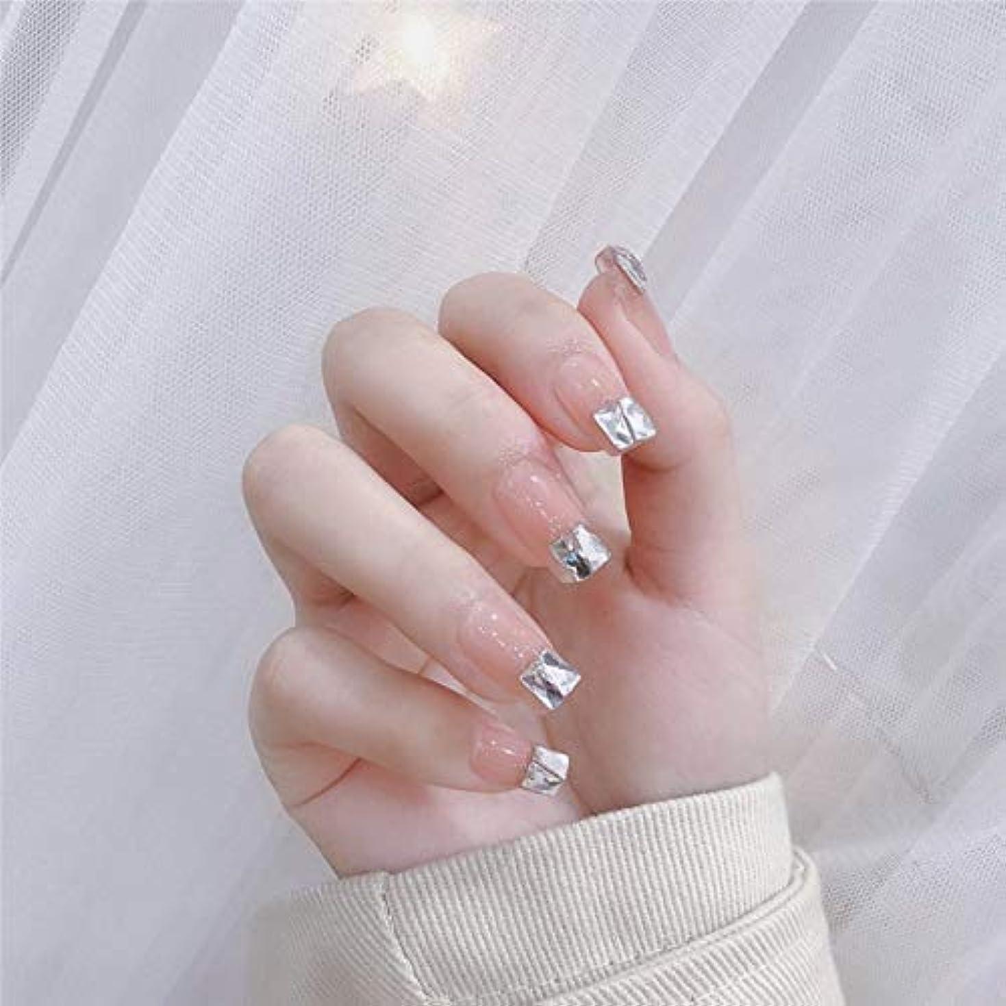 シンプルさ乱れ流行のスタイル 台形 きらめくダイヤモンド 桜の色 手作りネイルチップ 3Dネイルチップ 24枚入