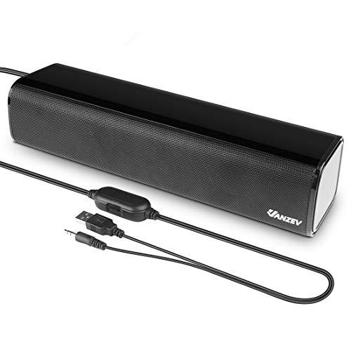 PC スピーカー VANZEV ステレオ USB サウンドバー 小型 大音量 高音質 USB給電 AUX接続 テレビ/パソコン/スマホ 対応