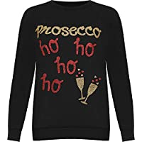 Fashion 24/7 Women's Prosecco Glitter Slogan Print Christmas Sweatshirt Ladies Festive Top 8-14