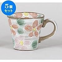 5個セット マグカップ 赤桜マグ [12 x 9 x 8cm 350cc] 土物 【料亭 旅館 和食器 飲食店 業務用 器 食器】