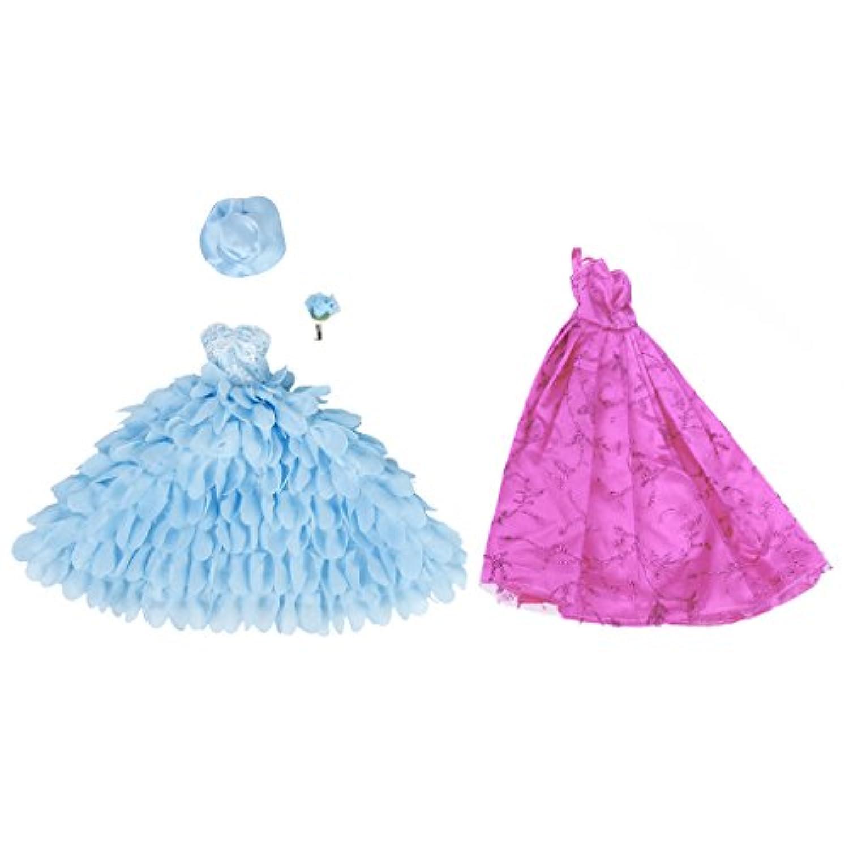 Dovewill 2個入り  バービー人形用  ドール 綺麗  ドレス  レース  花嫁  ドレス  衣装