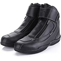 しゅーず バイクブーツ オフロード レーシングシューズ プロテクター 牛皮カジュアル靴 雨 防水 滑り止め ダブルファスナー お洒落 ブラック マン ライディング