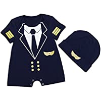 ALLAIBB Baby Boys Romper Pilot Uniform Costume Cosplay Outfits with Cap Size 59 (Black)