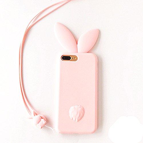 iPhone6sケース シリコン かわいい ピンク ウサギ耳 スマホケース iphone6 シリコン キャラクター 動物 3D立体 ソフト 360度の保護 おしゃれ 女性 レディース 用 ストラップ付き 人気 携帯ケース (iPhone6/6s, ピンク)