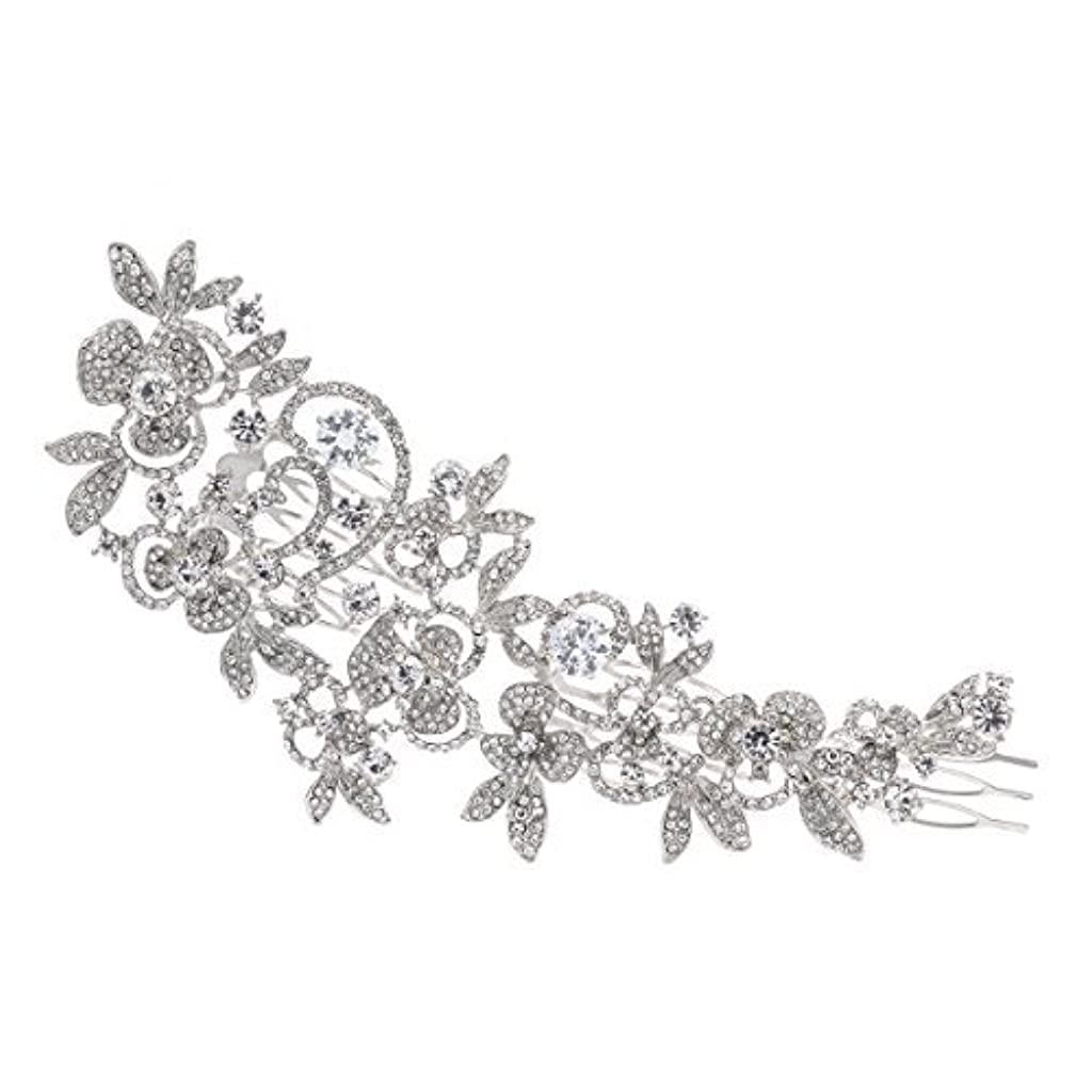 犬穏やかな汚染Sparkly Long Flower Hair Comb Rhinestone Hairpins Bridal Wedding Hair Accessories Jewelry Austrian Crystals Hair...