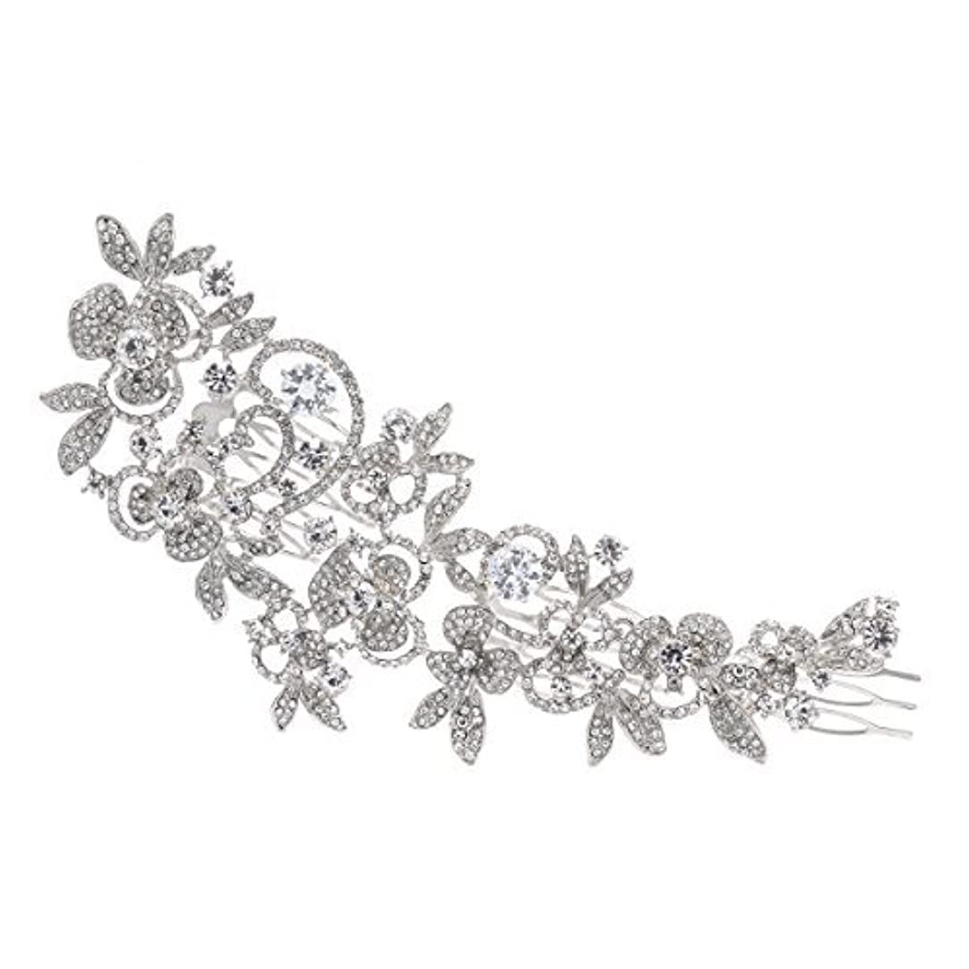 粘液経済的満了Sparkly Long Flower Hair Comb Rhinestone Hairpins Bridal Wedding Hair Accessories Jewelry Austrian Crystals Hair...