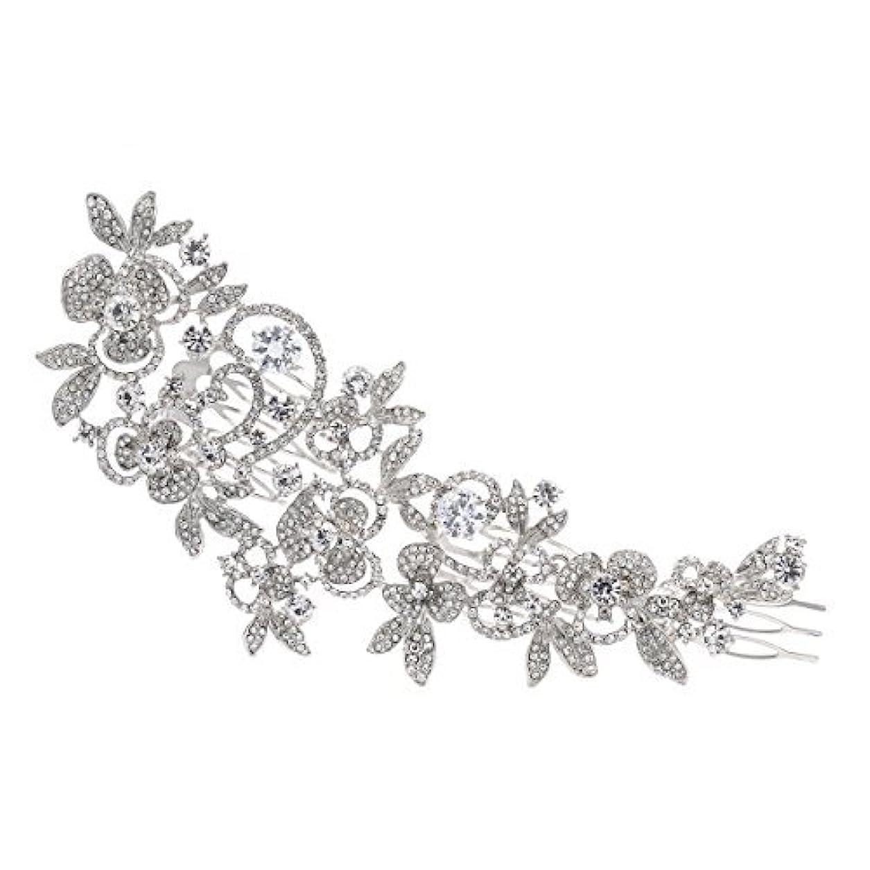 聖域自己強いSparkly Long Flower Hair Comb Rhinestone Hairpins Bridal Wedding Hair Accessories Jewelry Austrian Crystals Hair...
