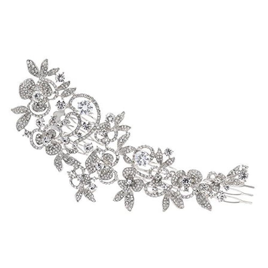 フレキシブルブラインド無意識Sparkly Long Flower Hair Comb Rhinestone Hairpins Bridal Wedding Hair Accessories Jewelry Austrian Crystals Hair...