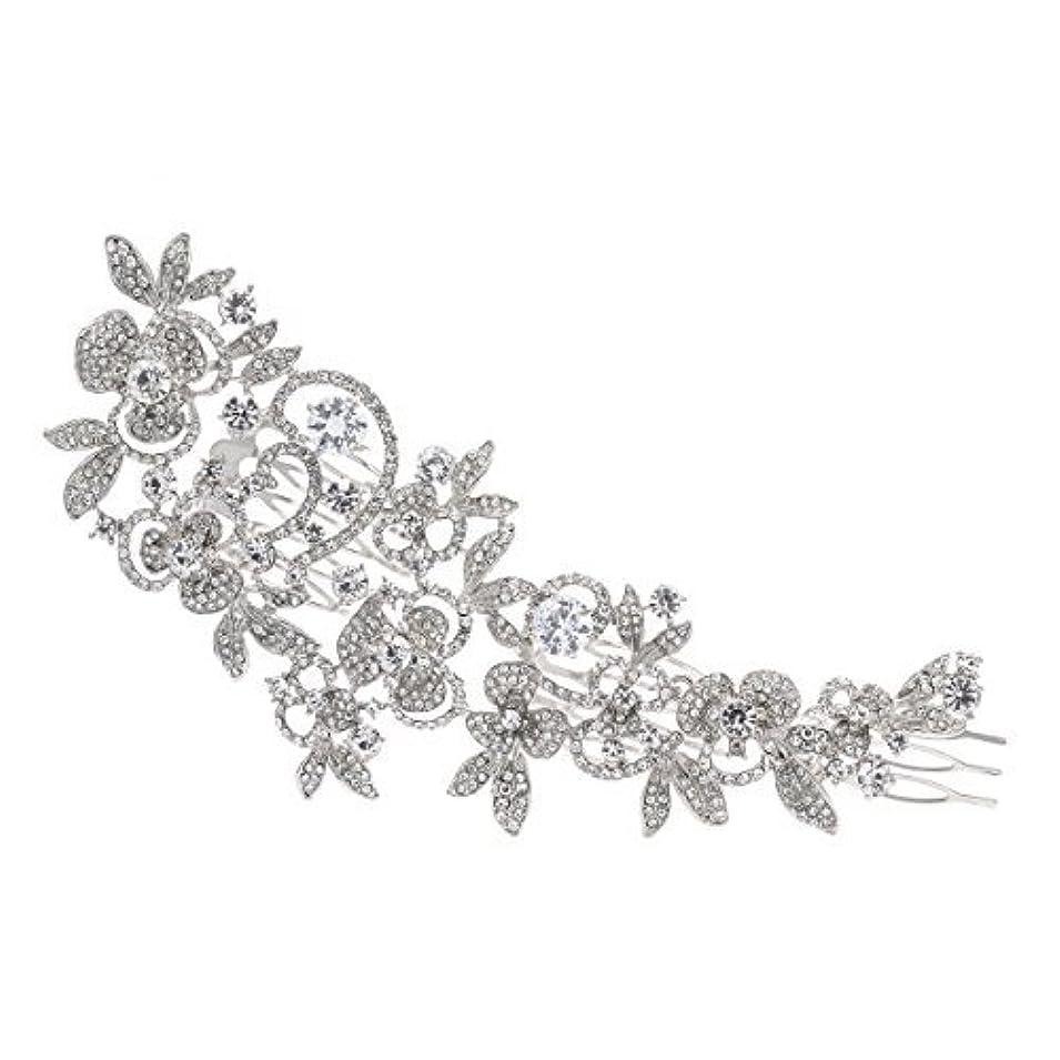ちらつき逆に適合Sparkly Long Flower Hair Comb Rhinestone Hairpins Bridal Wedding Hair Accessories Jewelry Austrian Crystals Hair...