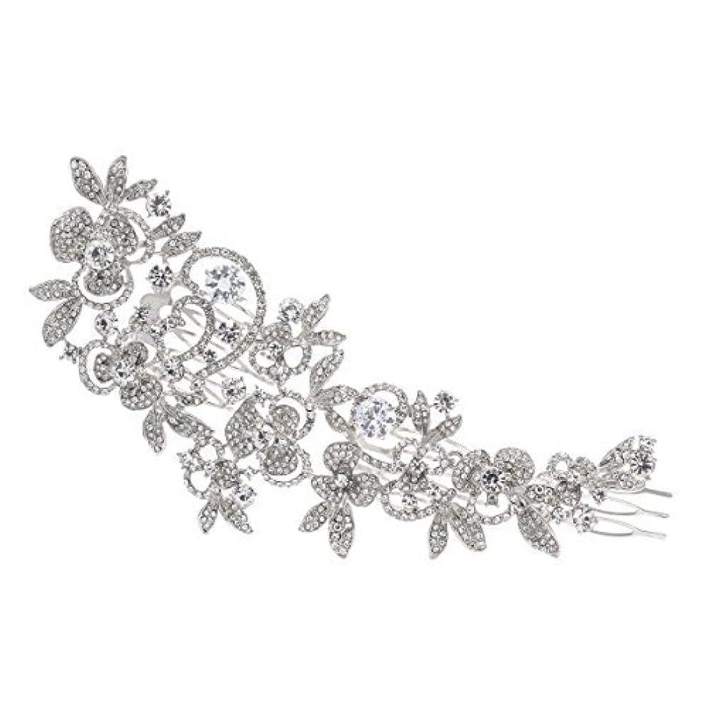 ジャーナル雹制裁Sparkly Long Flower Hair Comb Rhinestone Hairpins Bridal Wedding Hair Accessories Jewelry Austrian Crystals Hair...