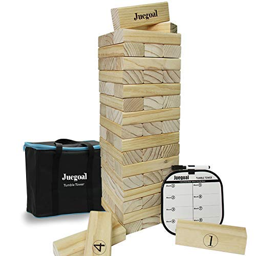 Juegoal 54 Piece Giant Tumble Tower, Wooden Toppling Tower Block Game with Gameboard, Canvas Bag for Outdoor Yard Kids Adults Playing, 7.1 x 7.2 x 25.2 Inches