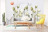 KAHSFA 3D壁紙 カスタム現代3d効果写真壁紙手絵画花ミニマリズム背景壁壁画抽象壁紙家を飾る-200cmx140cm