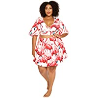 Astra Signature Women' s Plus Size Vintage V Neck Flamingo Print Half Sleeve Wrap Crop Top