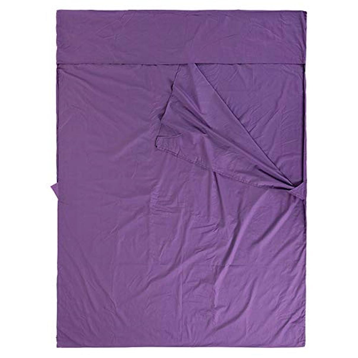 お敵リアルDjyyh 超軽量ポータブル春と秋の屋外旅行薄いセクション大きいサイズを並べる二重寝袋 (Color : Purple)