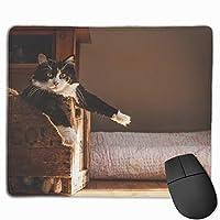 マウスパッド 休憩 猫 ネコ 可愛い おしゃれ 高耐久性 滑り止め 防水 PC ラップトップ 水洗い レーザー 光学式 25*30cm