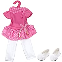 Lovoski かわいい 18 インチ アメリカンガール人形用 3層ドレス レギンス、シューズ 女の子 プレゼント