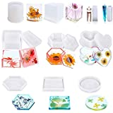 10PCS Resin Moulds Silicone, Epoxy Resin Moulds Include Hexagonal, Square, Heart-Shaped Craft Box Moulds, DIY Resin Coasters,