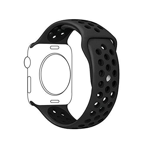 METEQI For Apple Watch Band シリカゲルバンド スポーツシリコンストラップリストバンド交換バンド柔らか運動型 M/L Series3/2/1 (42MM, ライトブラック/ブラック)
