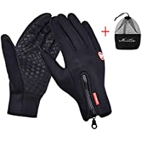IPENNY Womens Mens Winter Warm Touch Screen Gloves Windproof Waterproof Thermal Gloves Smartphone Texting Hand Warmers Cycling Running