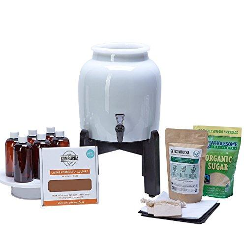 コンブチャ醸造スターターキット - 6.5インチ オーガニックスコビー、北米最大のUSDA培養、ボトル80本醸造できるオーガニック・ルーズリーフティー、オーガニック砂糖、取扱説明書 (日本語ではない場合があります) 、ビデオ、レシピ、供給品その他