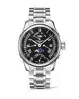 新しいLonginesマスターコレクション自動ブラックダイヤルステンレススチールメンズ腕時計l2.739.4.51.6