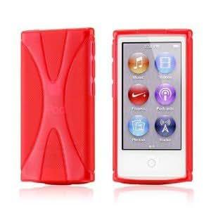 Apple iPod nano 7 デザイン カバー ケース TPU Jelly X Design Case (軽量モデル) アイポッドナノ 2012年 第7世代 iPod nano 7th 対応 + 液晶保護フィルム1枚【Clear X Red(赤)】