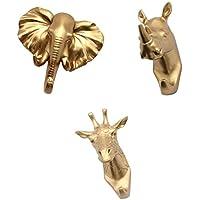 Fenteer 動物の頭 デザイン フック ハンガー ラック 壁 装飾 プラスチック製 キー、ジュエリー、帽子 掛け 3個