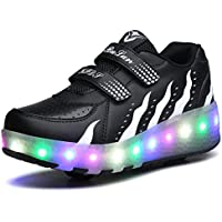 Boys Girls LED Roller Skate Shoes Double Wheels Outdoor Gymnastics Fashion Sneaker Technical Skateboarding Shoes