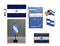 ニカラグアHeritageフラグパック–Includes aニカラグアフラグ3x 5'フラグ、ビニールデカール、One Single & OneダブルFriendship Flagラペルピン、ミニチュアデスクFlag withスタンド& Oneアイロンフラグパッチ