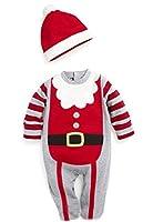 ツバメ--屋 ベビー服 男の子 女の子 ユニセックス ロンパース 長袖クリスマス プリント (80, C)