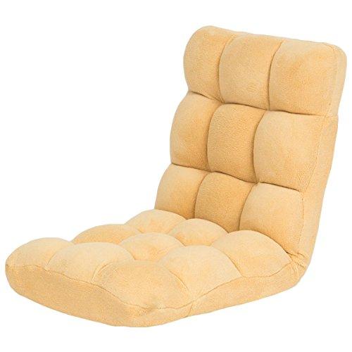 【ベルベットの手触り 肉厚ボリューム座椅子 14段階リクライニングもこもこ座いす】 気持ちよく座れるクッション 3層構造 こたつに最適 軽量コンパクト 体にフィット (ベージュ色)
