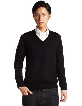 12-gauge Wool V-neck Sweater 1213-106-0848: Black