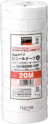 ビニールテープ 19X20m 白 10巻り TM1920W-10P 1パック(200m) 375-9385