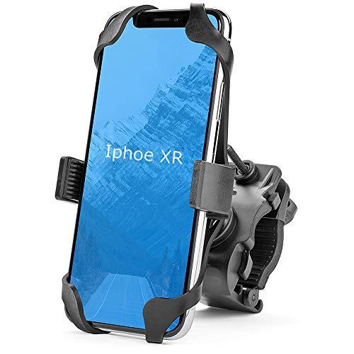 自転車ホルダー スマホホルダー スマホ固定用ホルダー GPSナビ用 脱落防止 二重強力保護 俯仰角度調節/360度回転 iphone7 8 X xperia android 全機種対応 保護シリコンバンド/日本語説明書付き (ブラック)