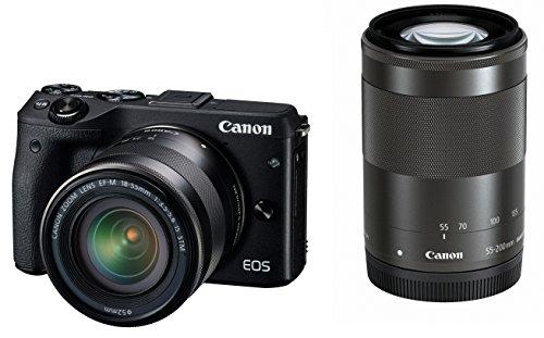 Canon ミラーレス一眼カメラ EOS M3 ダブルズームキット(ブラック) EF-M18-55mm F3.5-5.6 IS STM EF-M55-200mm F4.5-6.3 IS STM 付属 EOSM3BK-WZK