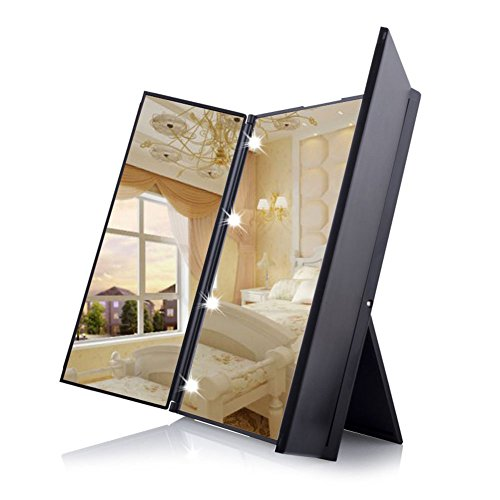 鏡 スタンドミラー 折りたたみ式の三面鏡 ハートの形をしたLEDライトが8個 角度調整可能化粧鏡 J-dragon