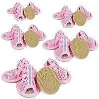 FidgetGear ペットコットン通気性メッシュ滑り止めサンダル5size 4PCS /セットのための小さな犬の靴 ピンク